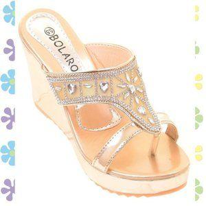 Gold Metallic Crystal Bling Mesh Wedges Sandals